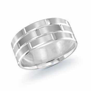 Trendy 9mm all white gold brick motif satin finish band with high polished grooved accents