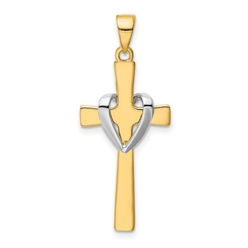 14k w/Rhodium Polished Heart Cross Pendant