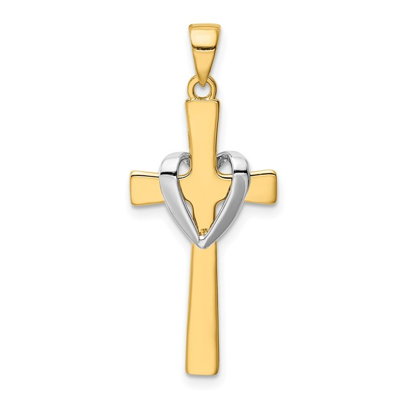 Quality Gold 14k w/Rhodium Polished Heart Cross Pendant