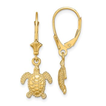 14K 3-D Polished Mini Sea Turtle Leverback Earrings