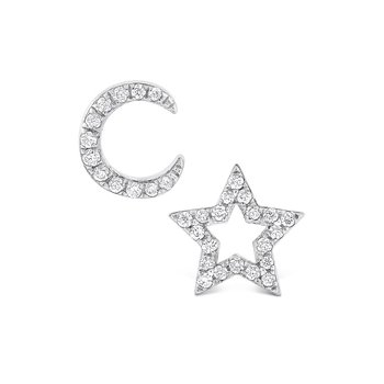 Diamond Moon And Star Earrings in 14K White Gold with 32 Diamonds Weighing .12 ct tw
