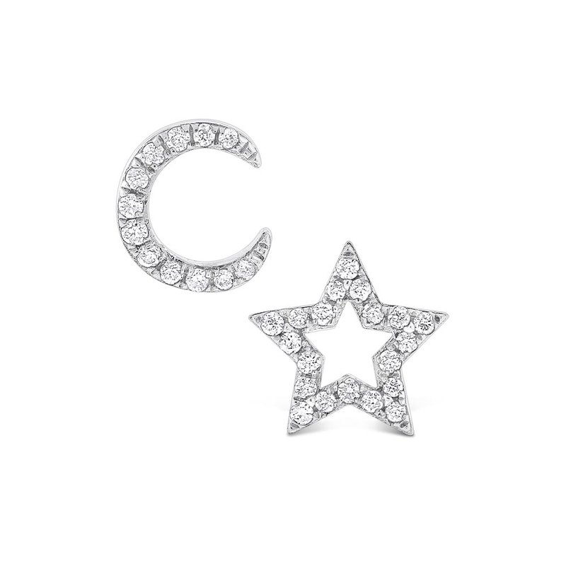 KC Designs Diamond Moon And Star Earrings in 14K White Gold with 32 Diamonds Weighing .12 ct tw
