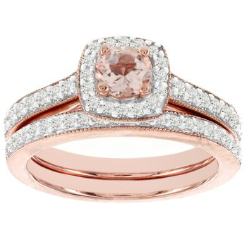 14k Rose Gold 1/2ct TDW Diamond and Morganite Bridal Set