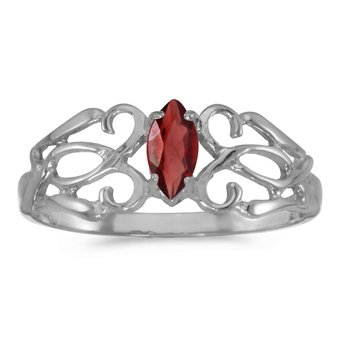 14k White Gold Marquise Garnet Filagree Ring