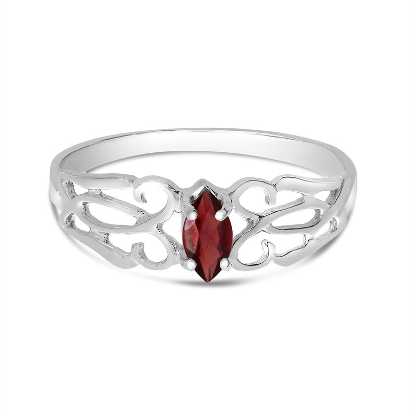 Color Merchants 14k White Gold Marquise Garnet Filagree Ring