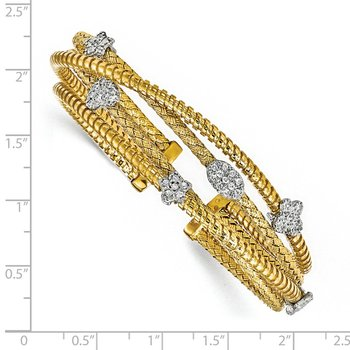 Leslie's Sterling Silver Gold-plated CZ Polished Textured Cuff Bangle
