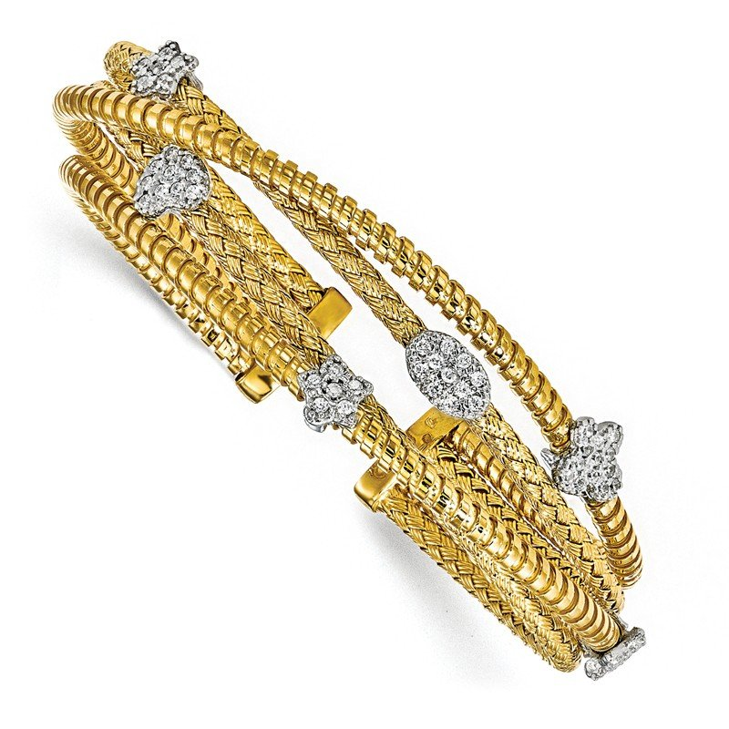 Leslie's Leslie's Sterling Silver Gold-plated CZ Polished Textured Cuff Bangle