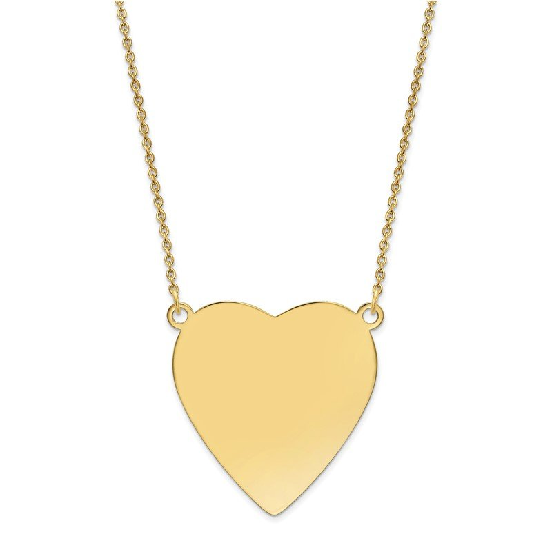 Quality Gold 14k Plain .018 Gauge Heart Engravable Disc 18in Necklace