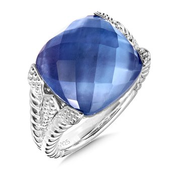 Sterling Silver Dyed Blue Mother of Pearl Fushion Ring