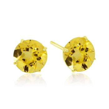 6mm Round 14k Yellow Gold Citrine Stud Earrings