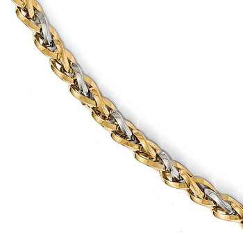 Leslie's 14K Two-tone Polished Fancy Link w/.5 ext. Bracelet