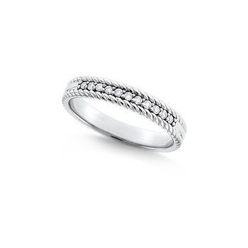 Diamond Stackable Rope Ring in 14k White Gold with 11 Diamonds weighing .11ct tw