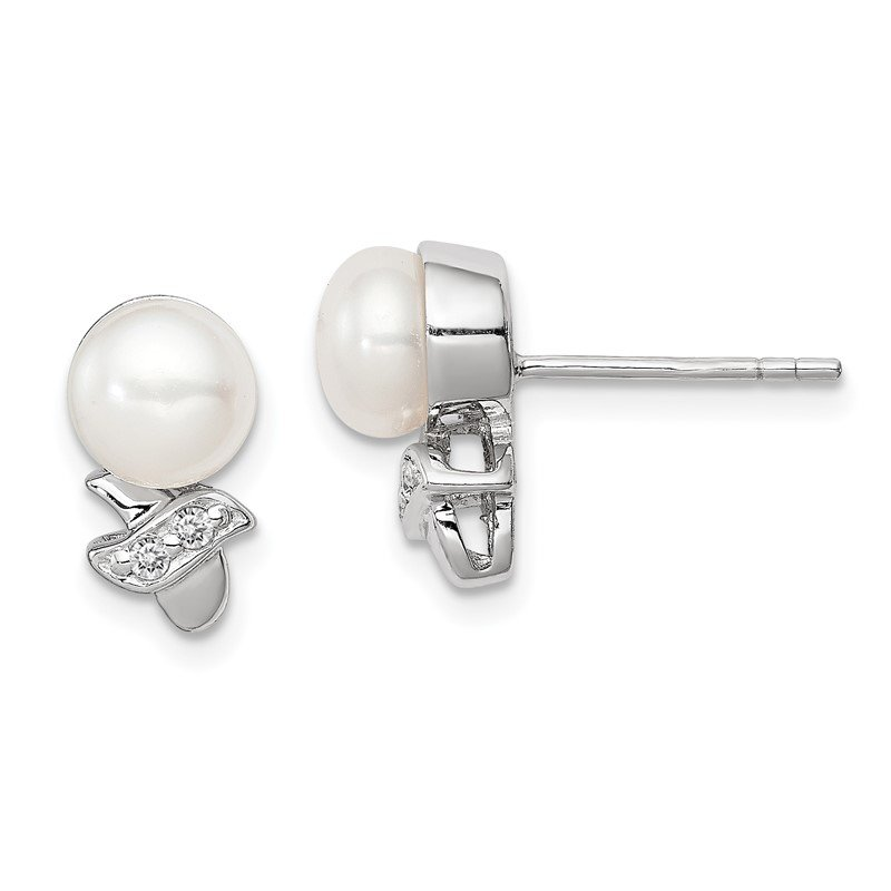 Arizona Diamond Center Collection Sterling Silver Rh-plated 7-8mm White FW Cultured Pearl CZ Post Earrings