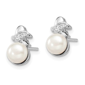 Sterling Silver Rh-plated 7-8mm White FW Cultured Pearl CZ Post Earrings
