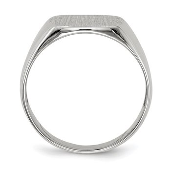 14k White Gold 12.5x12.5mm Open Back Signet Ring