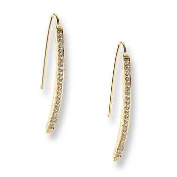 Gold Plated Sterling Silver Icicle Earrings-White Sapphires-Small
