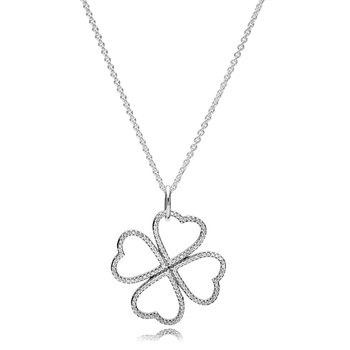 Petals of Love Pendant Necklace, Clear CZ
