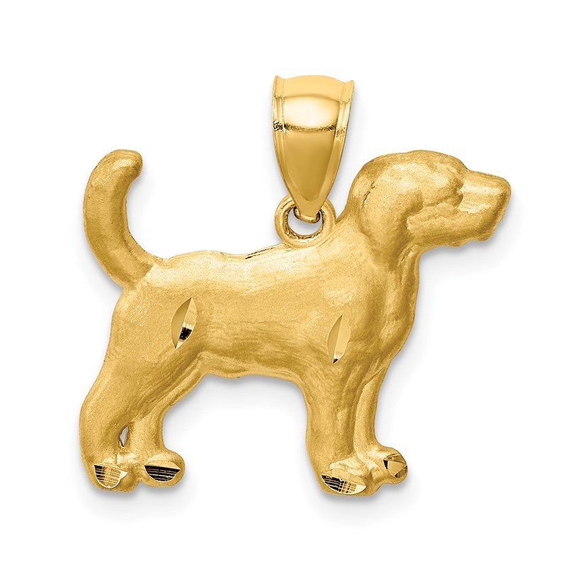 Quality Gold 14K Diamond-cut Beagle Pendant