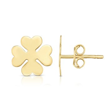 14K Gold Clover Stud Earrings