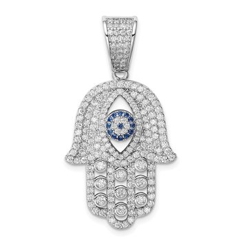 Sterling Silver Rhodium-plated Created Spinel & White CZ Hamsa Pendant