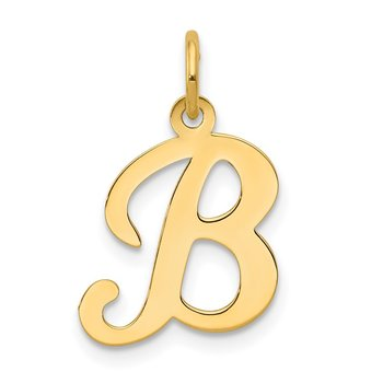 14KY Script Letter B Initial Charm