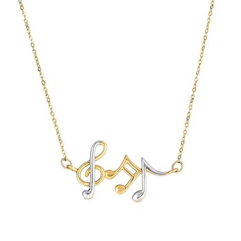 14K Gold Music Notes Necklace