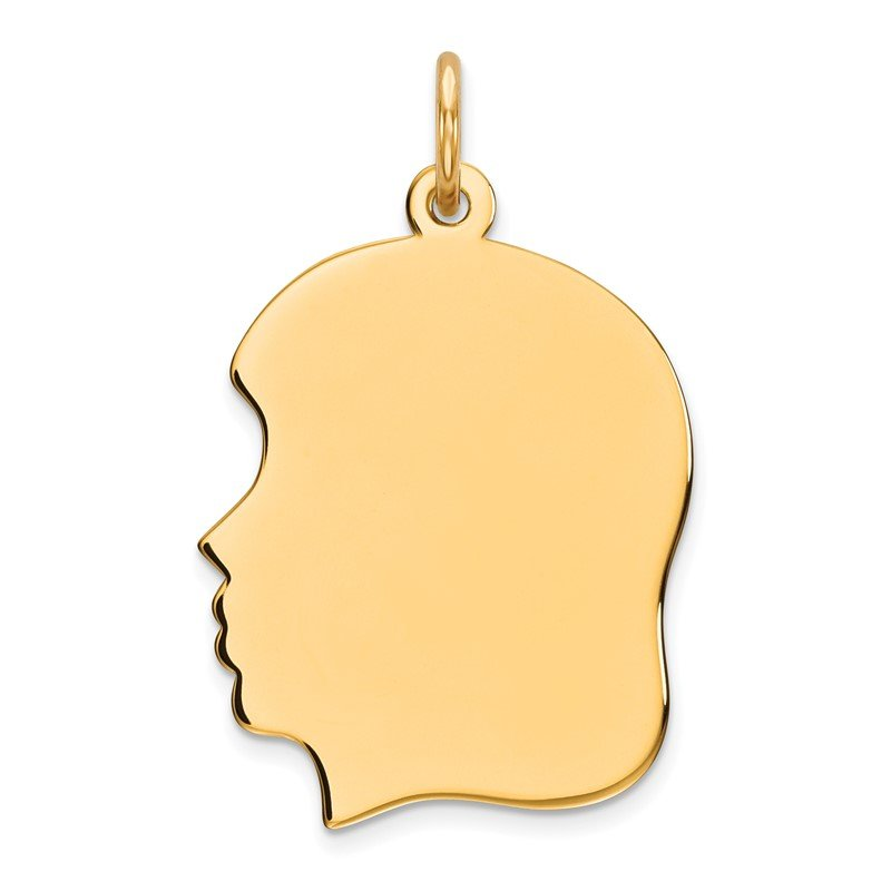Quality Gold Sterling Silver GP Engraveable Girl Polished Disc Charm