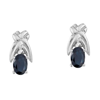 14k White Gold 6x4mm Oval Sapphire and Diamond Stud Earrings