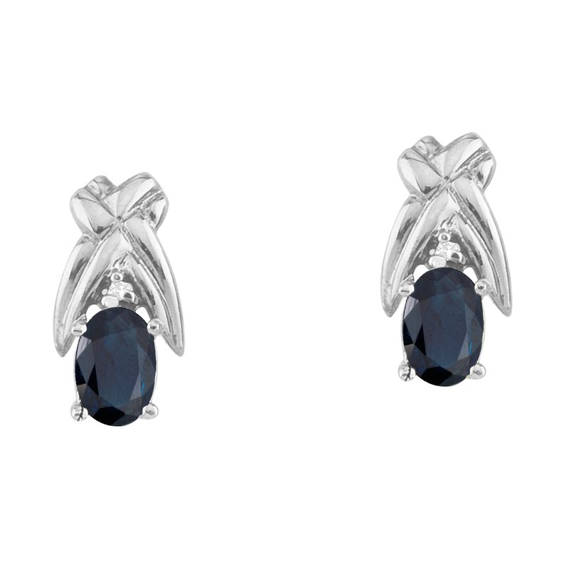 Color Merchants 14k White Gold 6x4mm Oval Sapphire and Diamond Stud Earrings