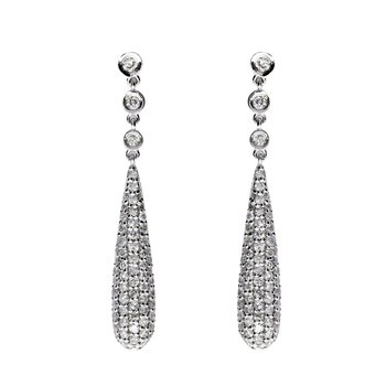 14k White Gold Diamond Door Knocker Earrings