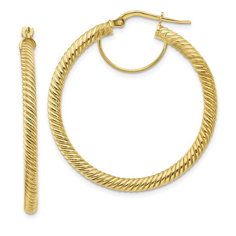 Quality Gold 10k 3x30 Twisted Round Hoop Earrings