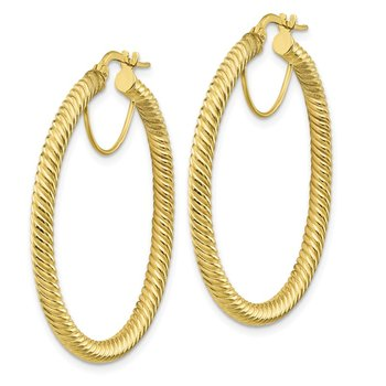 10k 3x30 Twisted Round Hoop Earrings