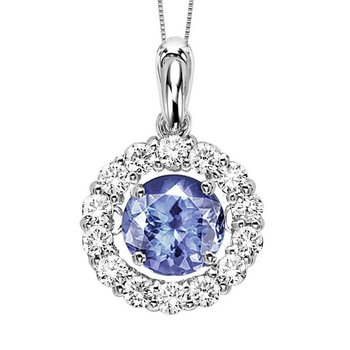 14K Tanzanite & Diamond ROL Pendant 1 1/4 ctw