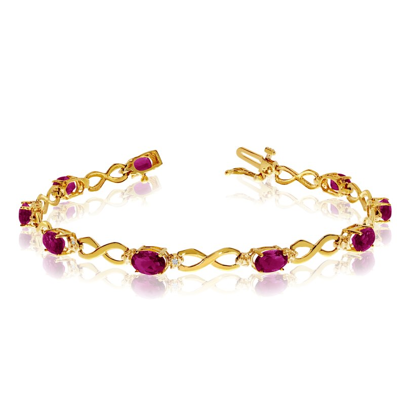 Color Merchants 14K Yellow Gold Oval Ruby and Diamond Bracelet