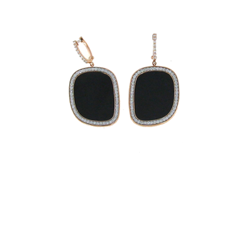 18KT GOLD EARRINGS WITH BLACK JADE AND DIAMONDS