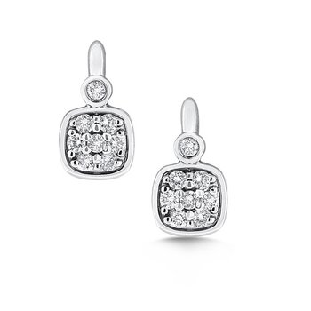 Diamond Small Cushion Shaped Earrings in 14k White Gold with 16 Diamonds weighing .34ct tw