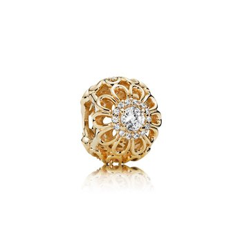 Floral Brilliance, Clear CZ & 14K Gold