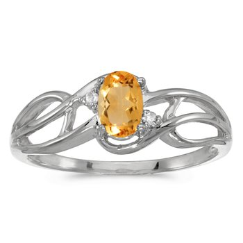 10k White Gold Oval Citrine And Diamond Curve Ring