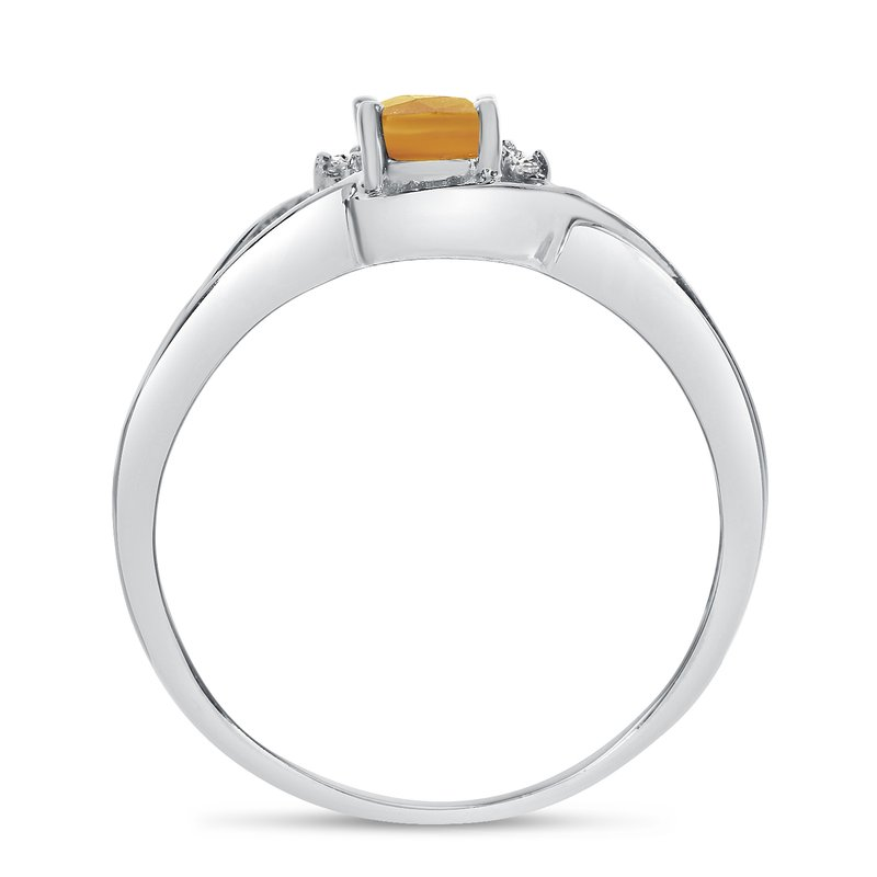 Color Merchants 10k White Gold Oval Citrine And Diamond Curve Ring