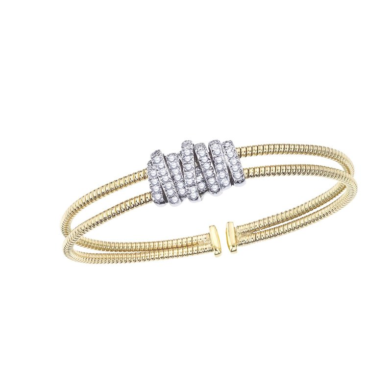 DA Gold Two-Tone Twisted Bangle with Diamond Wrap