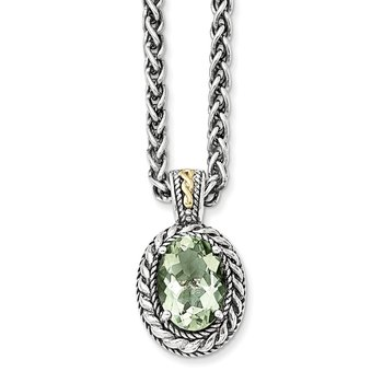 Sterling Silver w/14k Antiqued Green Quartz Necklace