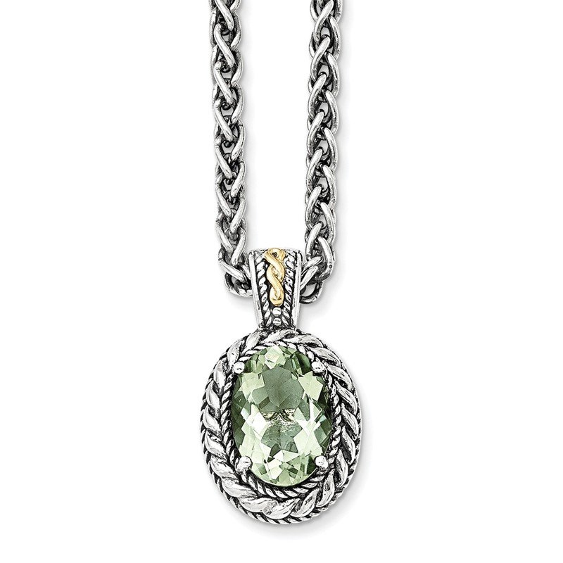 Shey Couture Sterling Silver w/14k Antiqued Green Quartz Necklace