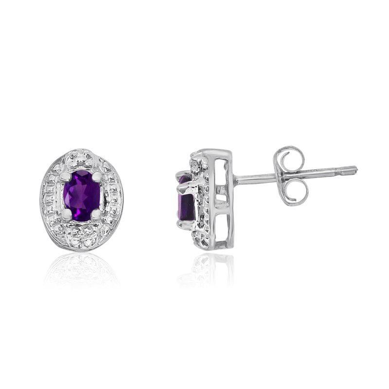 Color Merchants 14k White Gold Amethyst Earrings with Diamonds