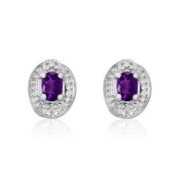 14k White Gold Amethyst Earrings with Diamonds