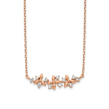 14K Rose Gold Fancy CZ w/ 1in ext. Necklace