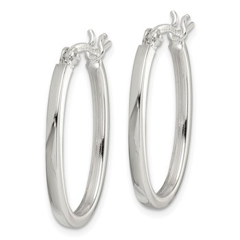 Sterling Silver 2.00mm Square Tube Oval Hoop Earrings