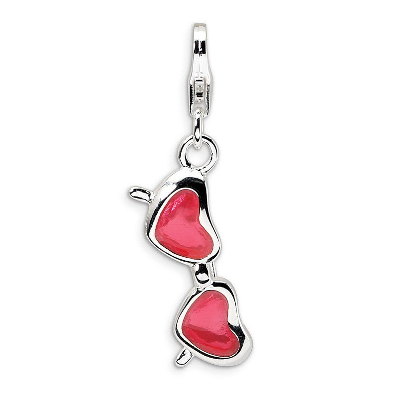 Quality Gold Sterling Silver Enameled Coral Heart Sunglasses w/Lobster Clasp Charm