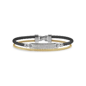 Black & Yellow Cable ID Bracelet with 18kt White Gold & Diamonds