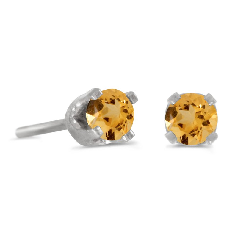 Color Merchants 3 mm Petite Round Genuine Citrine Stud Earrings in 14k White Gold
