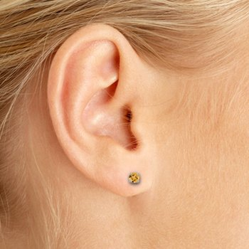 3 mm Petite Round Genuine Citrine Stud Earrings in 14k White Gold